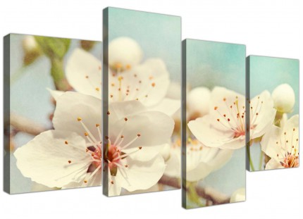 Large Japanese Cherry Blossom Duck Egg Blue White Floral Canvas Multi 4 Part - 4289