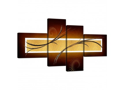 Brown and Gold Abstract Canvas Living Room Canvas Wall Art
