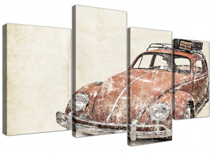 Large VW Beetle Bug - Rat Look Surfer Brown Volkswagen Abstract Canvas Split 4 Set - 4279