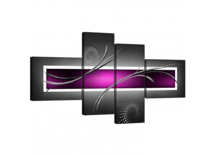 Purple Grey and Black Modern Design Abstract Canvas Wall Art