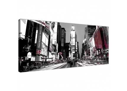 New York Times Square Red Black White Cityscape Canvas Wall Art