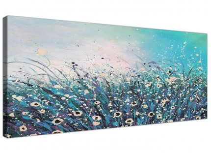 Large Teal Coloured Flowers Abstract Modern Floral Canvas Wallart - 120cm - 1260