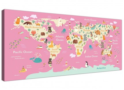 Animal Map of World Atlas Canvas Art for Girls Bedroom - Educational Kids Pictures - 120cm Wide - 1316