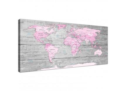 Pink Grey Map of World Atlas Canvas Wall Art Print