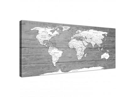 Black White Map of World Atlas