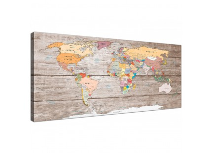 Large Decorative Map of World Atlas Canvas Wall Art Print - Modern