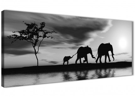 Black White African Sunset Elephants Canvas Wall Art Print - Modern 120cm Wide - 1363