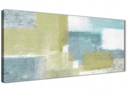 Lime Green Teal Abstract Painting Canvas Wall Art Print - Modern 120cm Wide - 1365