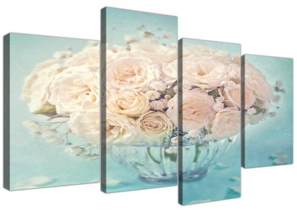 Large Duck Egg Blue & White Roses Flowers Floral Shabby Chic Floral Canvas Split 4 Panel - 4286