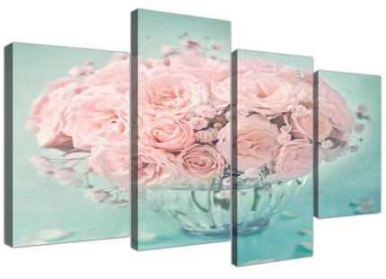 Large Duck Egg Blue and Pink Roses Flower Floral Shabby Chic Canvas Split 4 Panel - 4287
