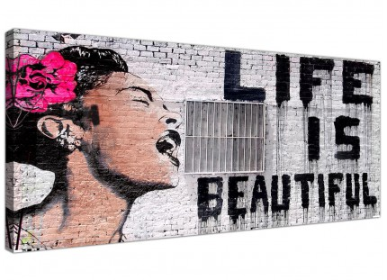 Large Banksy Life is Beautiful - Pink Modern Canvas Art - 120cm - 1232