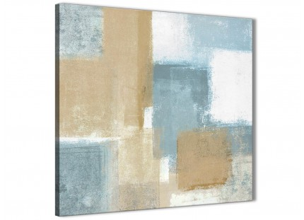 Blue Beige Brown Abstract Painting Canvas Wall Art Print - Modern 79cm Square - 1s350l