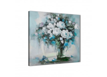 Teal White Flowers Painting Abstract Canvas Wall Art