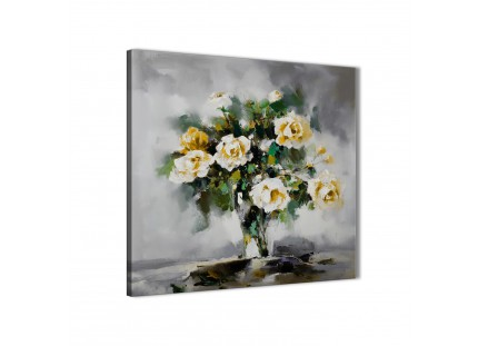 Mustard Yellow Grey Flowers Painting Canvas Wall Art