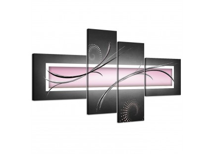 Pink Black and Grey White Modern Abstract Canvas Wall Art
