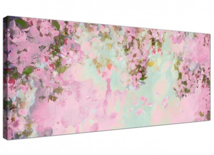 Shabby Chic Pale Dusky Pink Floral Canvas Modern 120cm Wide - 1281