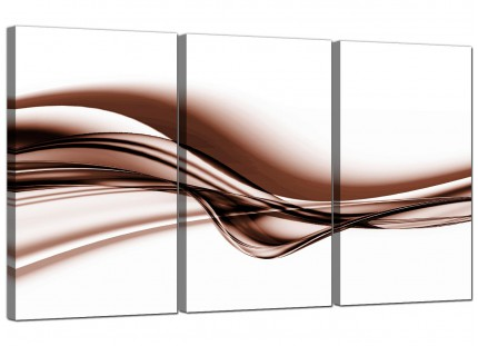 Modern Brown and White Wave Abstract Canvas - Set of 3 - 125cm - 3034