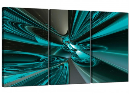 Modern Teal and Grey Cyclone Abstract Canvas - 3 Piece - 125cm - 3017