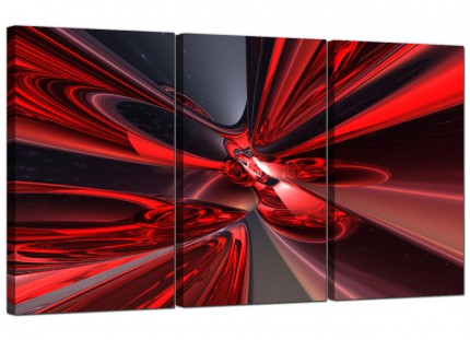 Modern Red Black Contemporary Abstract Canvas - 3 Panel - 125cm - 3006