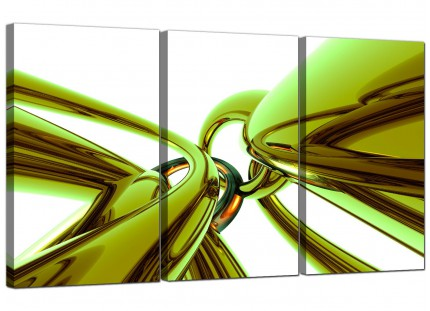 Modern Lime Green and White Neon Abstract Canvas - Set of 3 - 125cm - 3035