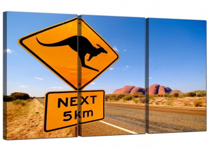 Modern Ayres Rock Australia Outback Landscape Canvas - 3 Set - 125cm - 3083