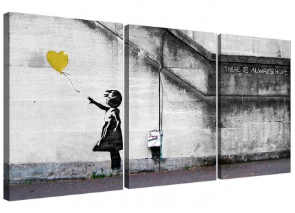 Modern Banksy Balloon Girl Yellow Heart Hope Canvas - 3 Set - 125cm - 3221