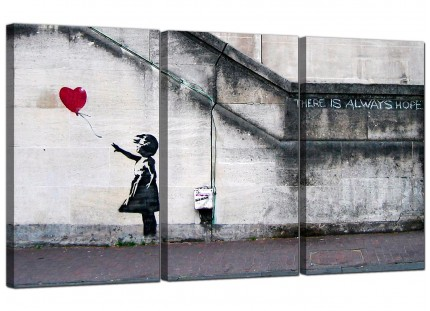 Modern Banksy Balloon Girl Red Heart Hope Canvas - 3 Piece - 125cm - 3050