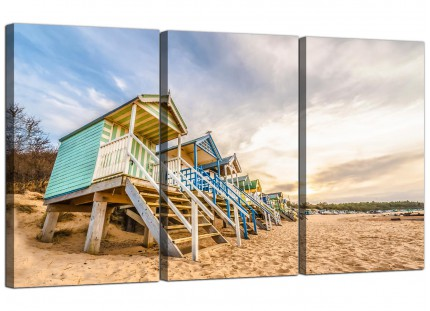 Modern Beach Huts Scene Beach Canvas - 3 Piece - 125cm - 3200