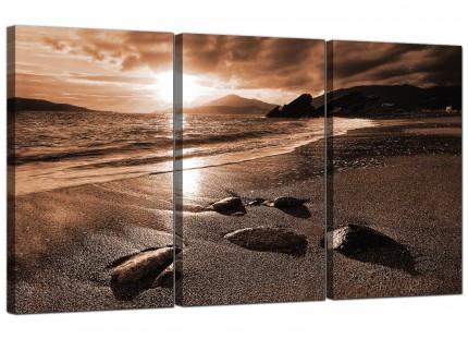 Modern Brown Beige Sunset Beach Scene Landscape Canvas - Set of 3 - 125cm - 3076