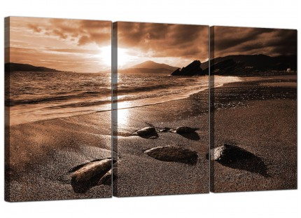 Modern Brown Beige Sunset Beach Scene Landscape Canvas - Set of 3 - 125cm - 3076