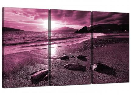 Modern Plum Coloured Sunset Beach Scene Landscape Canvas - 3 Set - 125cm - 3078