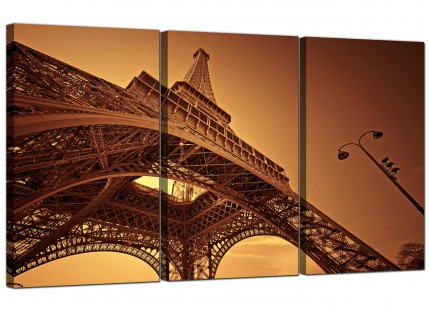 Modern Brown and Cream Eiffel Tower Paris City Canvas - Set of 3 - 125cm - 3013