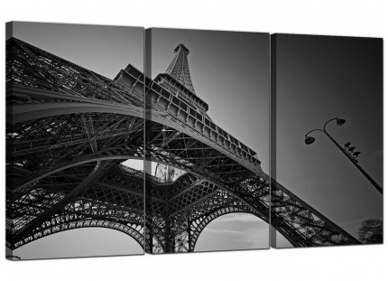 Modern Black White Eiffel Tower Paris Cityscape Canvas - 3 Panel - 125cm - 3016