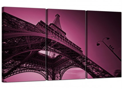 Modern Purple Eiffel Tower Scene Paris City Canvas - 3 Set - 125cm - 3015
