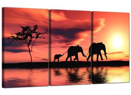 Modern African Sunset Elephants Landscape Canvas - Set of 3 - 125cm - 3102