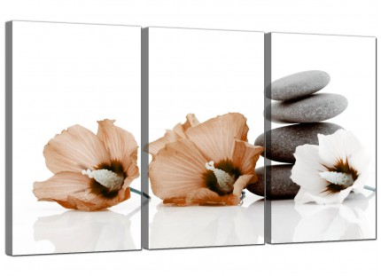 Brown White Flowers Zen Pebbles Stones Floral Canvas - Set of 3 - 125cm - 3073