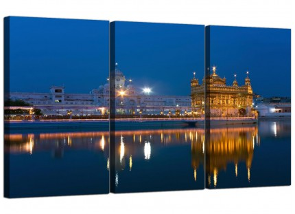 Modern Sikh Golden Temple Amritsar - Blue Canvas - 3 Set - 125cm - 3196
