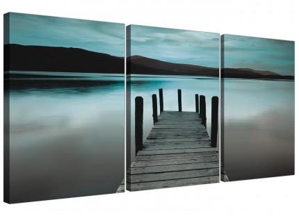 Modern Teal Grey Coloured Lake Jetty View Landscape Canvas - 3 Set 125cm - 3237