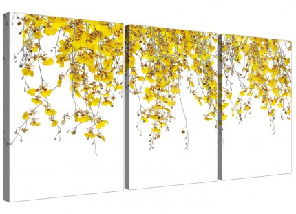 Modern Yellow White Orchids Flowers Floral Canvas - Set of 3 - 125cm - 3263