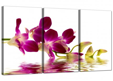 Modern Purple Green White Orchid Flower Floral Canvas - 3 Panel - 125cm - 3021