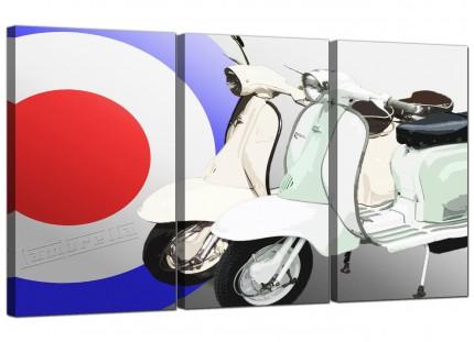 Modern Lambretta Scooter Mod Soul 60's Canvas - 3 Piece - 125cm - 3150