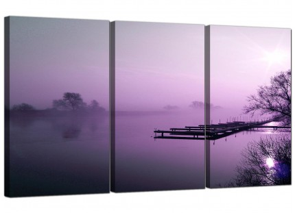 Modern Purple Sunset Jetty Lake View Landscape Canvas - Set of 3 - 125cm - 3119