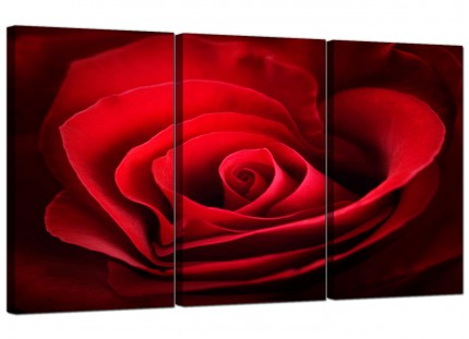 Modern Red Rose Heart Petals Flower Floral Canvas - 3 Panel - 125cm - 3044