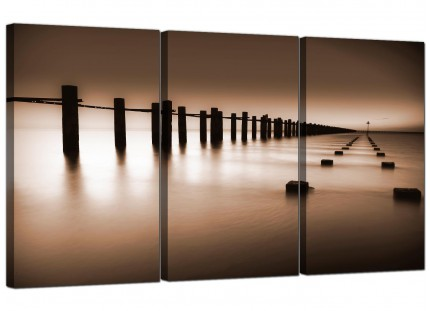 Modern Brown Beige Coloured Beach Scene Landscape Canvas - 3 Part - 125cm - 3088