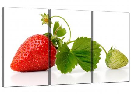 Modern Red Green Strawberry Fresh Kitchen Canvas - 3 Piece - 125cm - 3074