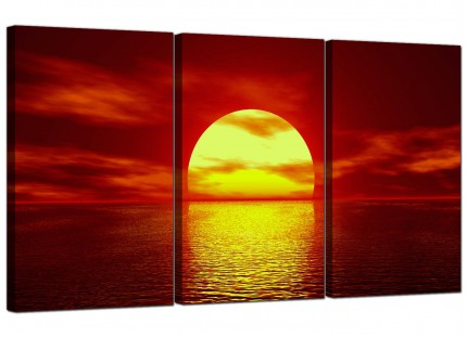 Modern Red Yellow Sunset Ocean Sky Landscape Canvas - Set of 3 - 125cm - 3001