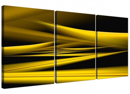 Modern Yellow Black Contemporary Waves Abstract Canvas - Set of 3 - 125cm - 3257