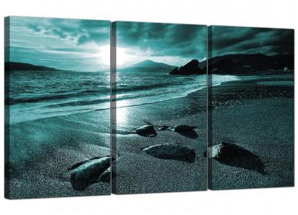 Modern Teal Coloured Sunset Beach Scene Landscape Canvas - 3 Set - 125cm - 3079
