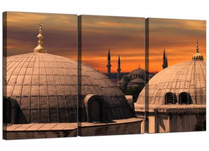 Istanbul Skyline - Blue Mosque Sunset Cityscape Canvas - 3 Piece - 125cm - 3192