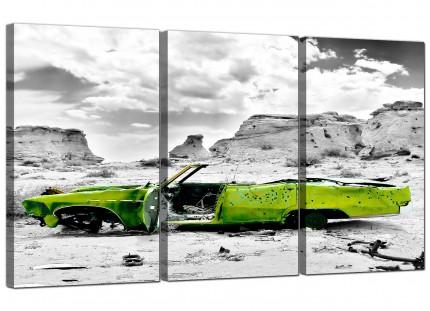 Abstract Lime Green Grey Car Desert Landscape Canvas - 3 Piece - 125cm - 3143